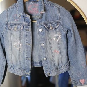 Gap Jeans Girl's jean jacket embellishments pink